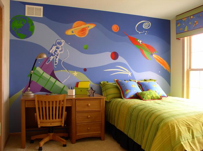 Behang Kinderkamer Ruimtevaart : Outer Space Themed Bedroom